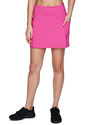 RBX Active Women's Fashion Stretch Knit Flat Front Golf/Tennis Athletic Skort with Attached Bike Short and Pockets Hot Pink XL