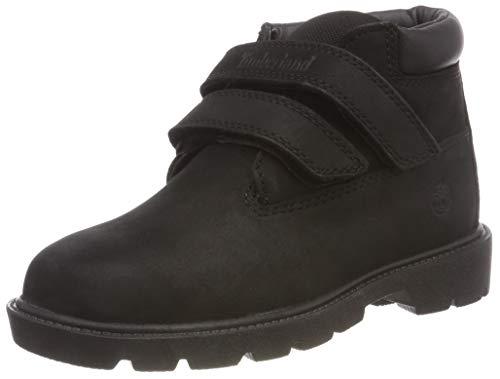 Timberland Unisex-Kinder Double Strap Hook & Loop Waterproof Chukka Boots, Schwarz (Black Nubuck), 22 EU