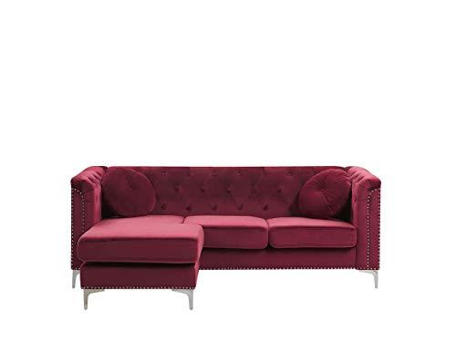 Canapé d'angle Rouge Velours Confort