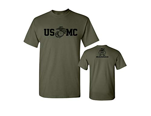 Lucky Ride Marine Corps Bull Dog Front and Back USMC Men's Military T-Shirt (Large, Military Green)