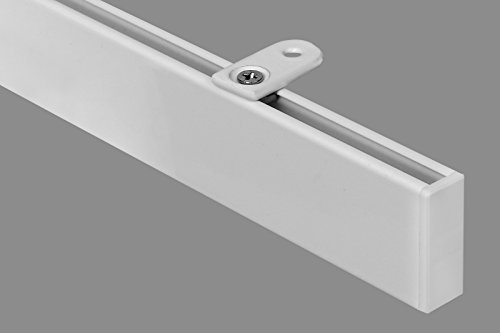 Megatrendline at home rechteckige Moderne 1,60 m Gardinenstange, alle Längen bis 4,60 m möglich, Vorhangstange, Innenlauf, Deckenbefestigung, 1-Lauf-weiß