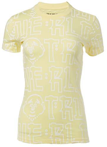 True Religion Women's All Over Buddha Graphic Short Sleeve Crewneck Tee, Lt. Yellow, Small