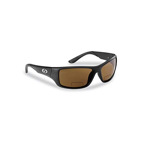 Flying Fisherman 7391BA-250 Triton Polarized Sunglasses, Matte Black Frame, Amber Bifocal Reader +2.50