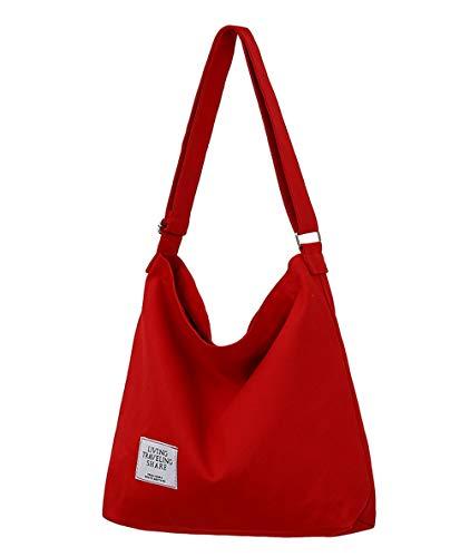 Covelin Women's Retro Large Size Canvas Shoulder Bag Hobo Crossbody Handbag Casual Tote Red