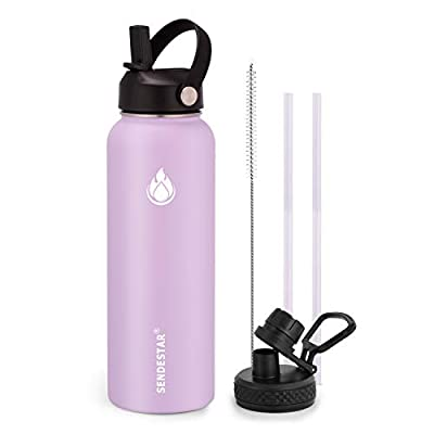 SENDESTAR Water Bottle 40oz Double Wall Vacuum Insulated Leak Proof Stainless Steel Sports Water Bottle—Wide Mouth with New Flex Straw Lid & Spout Lid (lilac)