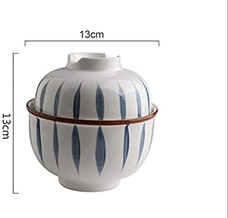 ZFDM Retro Olla de cerámica con la Olla Nido de Alimentos complementarios a Prueba de Agua Tapa de guiso de Olla de Sopa Taza estofado de la casa del pájaro tazón Olla Tapa (Color : 3)