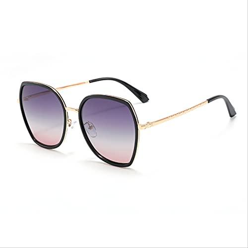 SLIYFJKQLX Gafas De Sol Polarizadas De Cara Redonda para Mujer con Montura Grande De Moda, Gafas De Sol De Protección para Los Ojos con Pantalla Metálica De Moda, Anti-Ultravioleta