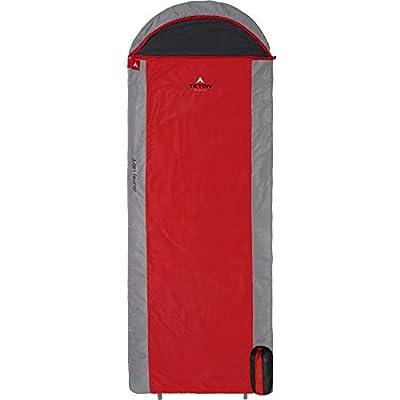 TETON Sports Journey +40 Degree F Ultralight Sleeping Bag 2.3 lbs 90x33in Red/Grey
