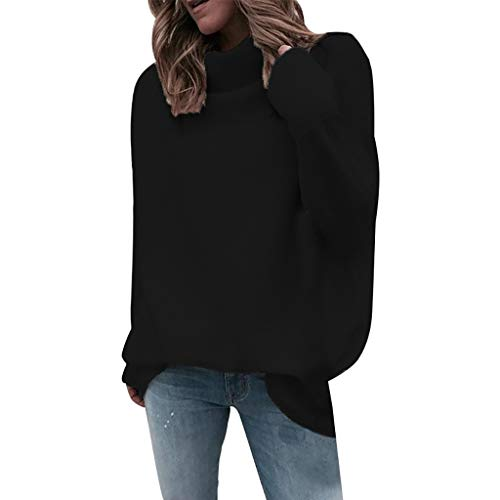 GHrcvdhw Women's Casual Turtleneck Solid Color Long Sleeve Loose Soft Knit Sweater Jumper Tops(Black,S)