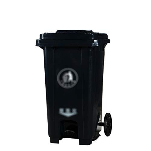 Outdoor trash can CSQ- Cubos De Reciclaje De Basura De Plástico, Bote De Basura Comercial Grueso Y Duradero con Ruedas Cubo De Limpieza De Basura Al Aire Libre Park Factory(Color:Negro,Size:100L)