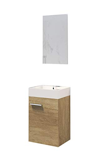 Baikal 280034041 Muebles de Baño Lavabo y Espejo, de una Puerta, Ideal para aseos o baños pequeños, Melamina 16, Nature, cm