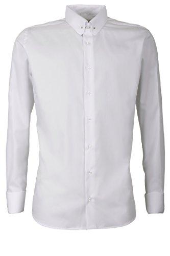 Schaeffer Hemd Modern Cut Uni weiß Piccadilly Kragen/Pin Collar