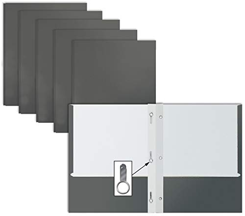 Gray Paper 2 Pocket Folders with Prongs, 50 Pack, by Better Office Products, Matte Texture, Letter Size Paper Folders, 50 Pack, with 3 Metal Prong Fastener Clips, Gray