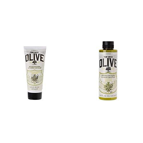 Korres Olive & Olive Blossom Körpermilch,1er Pack (1 x 200 ml) & Olive und Olive Blossom Duschgel, 1er Pack (1 x 250 ml)
