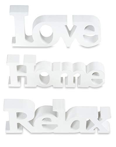 living-by-design 3er Set Schriftzug aus Holz Love Home Relax - weiß altweiß - Aufsteller Buchstaben Bild Dekoration Deko