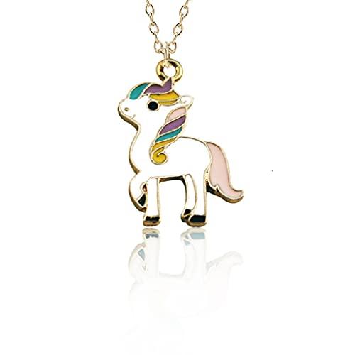 KONZFD collarModa Unicornio Colgante Collar Mejores Amigos Kawaii Lindo Collar de Gargantilla de Cadena Dorada para Mujeres niñas Regalos