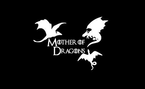 Mother of Dragons Khaleesi Vinyl Sticker Decals for Car Bumper Window Laptop (5  x 3.5 , White)