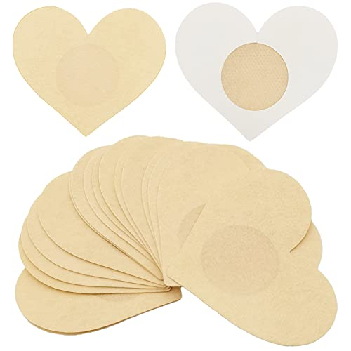 Breast Petals Nipple Covers for Women - 10 Pairs Disposable Heart-Shaped Sticky Pasties, Adhesive, Comfortable, Breathable