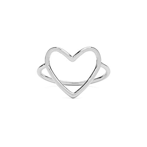 wongbey Hollow Love - Anillo abierto de plata de ley 925 con corazón abierto, ajustable, para parejas, regalo de aniversario, chapado en oro blanco, plata de ley 925