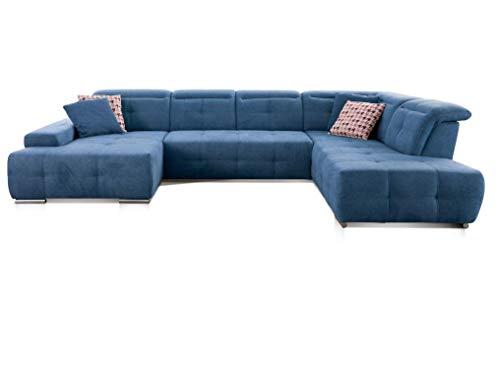 CAVADORE Wohnlandschaft Mistrel mit Ottomanen rechts / XXL-Sofa in U-Form / Inkl. Kopfteilverstellung / Couch mit aufwendiger Steppung / 343 x 77-93 x 228 / Kati Mittelblau