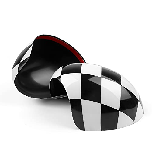 Topteng 2 x Checkered Mirror Caps Covers for MINI Cooper R55 R56 R57 with Auto Powerfolding Mirrors Only, Please See the Description to Check Fitment Models