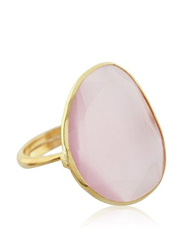 Córdoba Jewels | Anillo en Plata de Ley 925 bañada en Oro. Diseño Elegant Cuarzo Rosa Oro