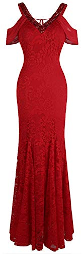 Angel-fashions Women's V Neck Off Shoulder Floral Lace Mermaid Wedding Dress XXLarge Burgundy