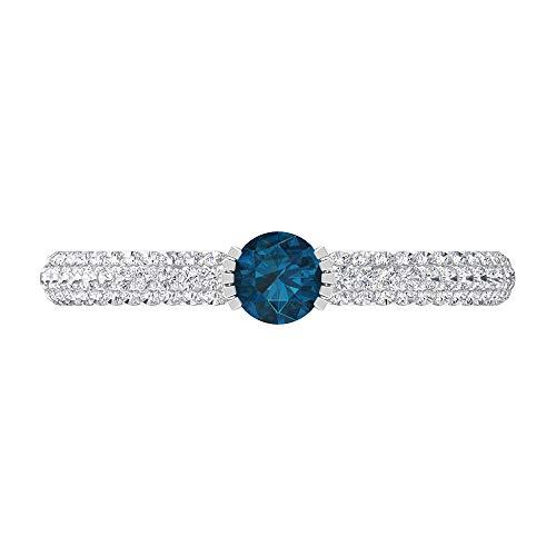 Anillo solitario de topacio azul Londres con piedras laterales de diamante 0,63 quilates, anillo de compromiso de oro (4 mm de topacio azul londinense), 14K White Gold, London Blue Topaz, Size:US 63