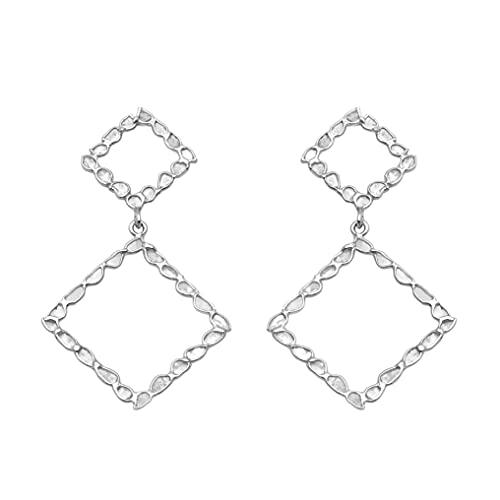 2.85 ctw natural polki slice diamante hecho a mano doble cuadrado enorme pendientes colgantes - plata de ley 925