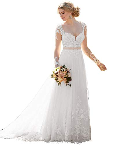 Lover Kiss Women's White Lace Wedding Dreses for Bride 2020 Long Sleeve Bridal Gown with Bottuns Scoop Neck Wedding Dress