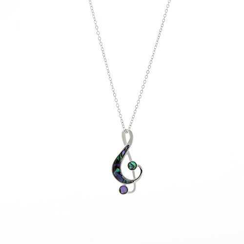 Byzantium Collection Natural Abalone Paua Shell Treble Clef Pendant in Delicate Blue Green with 18' Rhodium Plated fine Jewellery Chain (P128)
