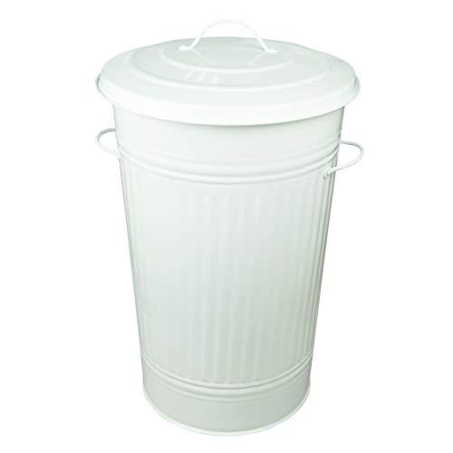 HRB Mülleimer Zink Weiß, 40 Liter, Vintage Design, sehr stabil mit Deckel- geeignet als Mülleimer Küche- Ideal für den gelben Sack oder zur Aufbewahrung von Klamotten