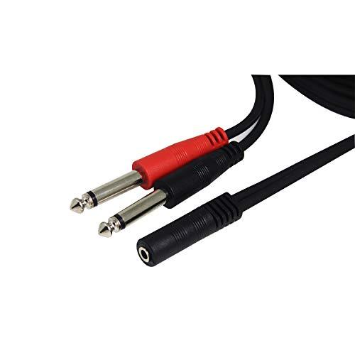Klinke Adapter 3.5mm Buchse auf Dual 6.35mm Mono Y Splitter Audio Kabel, Ancable 1M Digital Interface Instrument Kabel Unterstützt für Mischpult, Mikrofon, Recorder, Mixer, Gitarre, Verstärker usw