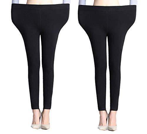 Yulaixuan 2 pares de mujeres calientan pantalones extra grandes y alargan sudaderas pantimedias gruesas para medias de invierno leggings (2 pies negros sin pie)