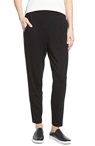 Eileen Fisher Slim Ankle Slouchy Pant (Large, Black)