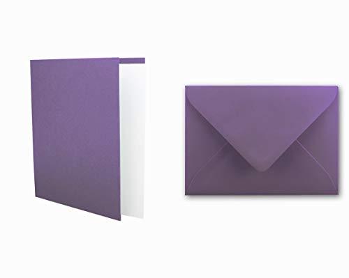 25x Einladungskarten Set inklusive Briefumschläge & extra Einlegeblätter - Blanko Klapp-Karten in Violett im DIN A6 Format - speziell zum Selbstgestalten & Kreieren
