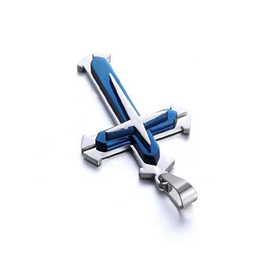 Hiinice Collar De Cadena Unisex De Acero Inoxidable del Colgante Cruz Collar De La Manera Mujeres Y Hombres - Azul De Herramientas Convenientes