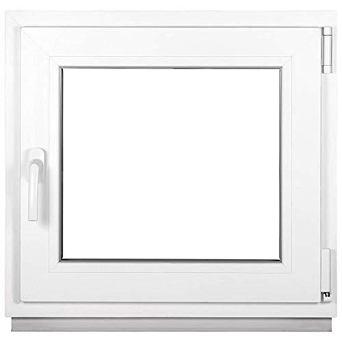 Kunststofffenster Weiß - Kellerfenster 3 Fach Verglasung - BxH: 800 x 900 mm - Alle Größen - Garagenfenster/Gartenhaus Fenster 80 x 90 cm - 58 mm Profil - Din Rechts - Funktion Dreh Kipp Fenster