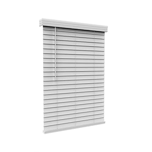 Arlo Blinds Cordless 2 Inch Faux Wood Horizontal Blinds - Size: 36' W x 48' H, White, Cordless Lift and Wand Tilt