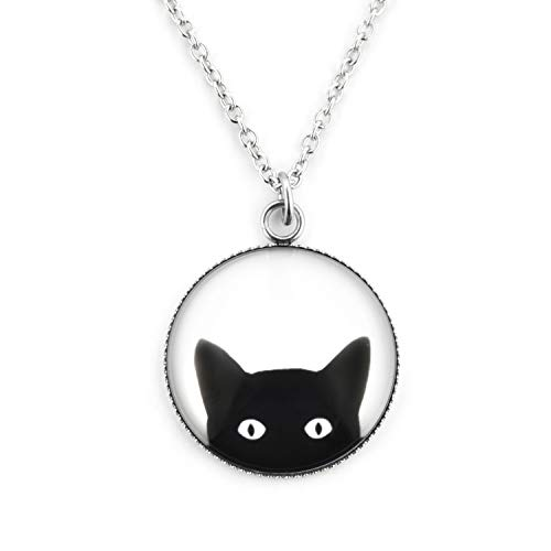 SCHMUCKZUCKER Damen Kette Anhänger Motiv Freche Katze Edelstahl Silber schwarz weiß großer Anhänger (25mm) - Kurze Kette (45cm)