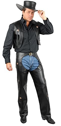 Charades Men's Faux-Leather Chaps and Vest Adult Costume, Black, Large