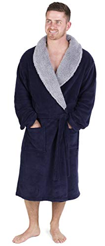 CityComfort Peignoir de Luxe pour Hommes Super Doux (M, Marine avec Contraste Sherpa)