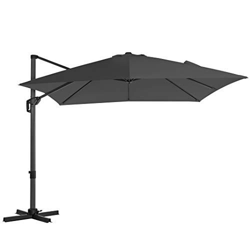 SONGMICS Sonnenschirm, Ampelschirm, 300 x 300 cm, quadratisch, Gartenschirm, UV-Schutz bis UPF 50+, um 360° drehbar, Neigungswinkel verstellbar, mit Kurbel und Ständer, grauGPU039G01