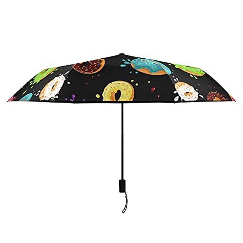 Paraguas compacto Donuts rosa chocolate azul limón menta paraguas invertido para hombres portátil ligero resistente al viento paraguas exterior sol lluvia perfecto plegable niñas paraguas invertido