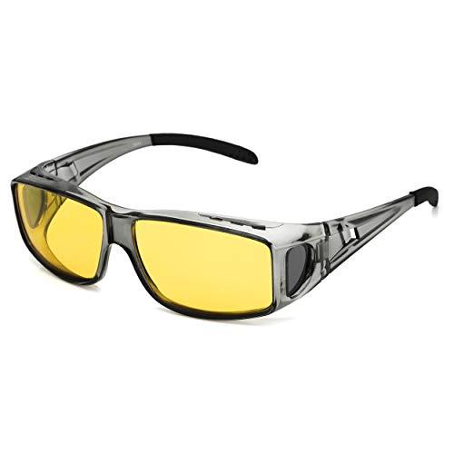 LVIOE übergroßen Nachtsichtbrille Autofahren für Brillenträger Gelbe Sonnenbrille über Brille Damen Herren Nachtsichtbrille Autofahren Polarisiert (Grau/gelb)