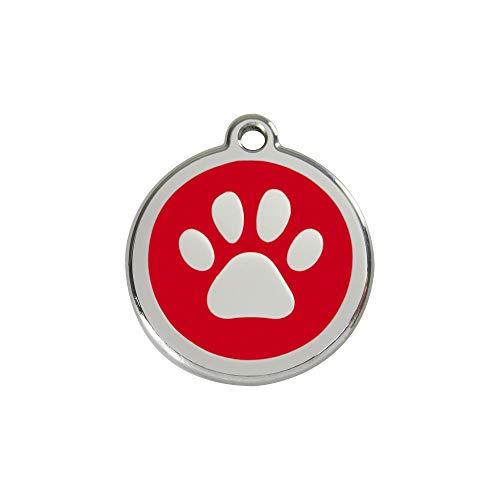 Red Dingo Hundemarke Pfote inklusive Gravur (S, rot)