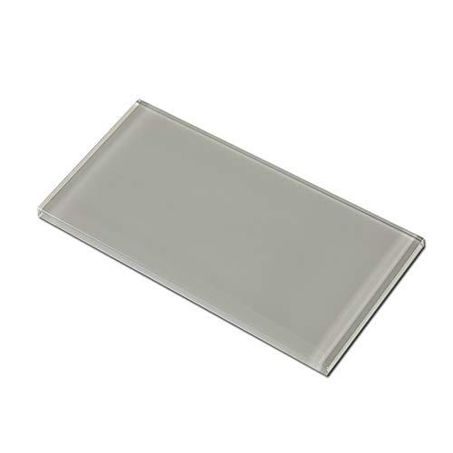 Soulscrafts Glasfliesen für Küche, Badezimmer, Dusche, Wand, 7,6 x 15,2 cm, Hellgrau, 40 Stück, 5 m²