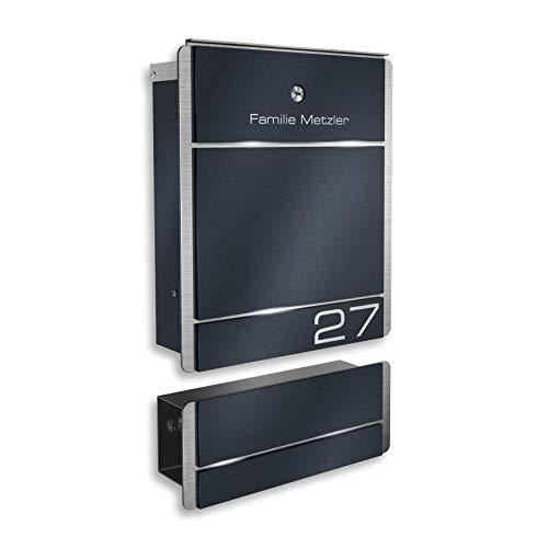 Metzler Briefkasten aus Edelstahl - Briefkasten mit Gravur & Zeitungsfach - Anthrazit (RAL 7016 & DB 703) / Weiß/Edelstahl - zur Wand-Montage - Größe: 33 x 38,5 x 11 cm