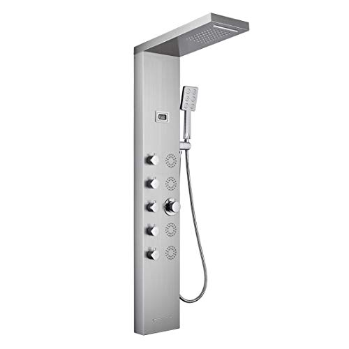 5 in 1 Shower Panel Tower System,SUS304 Stainless Steel Shower Fixtures with 4 Body Massage Jets,Rainfall Shower,Waterfall Shower, Handle Shower, Bathtub Spout