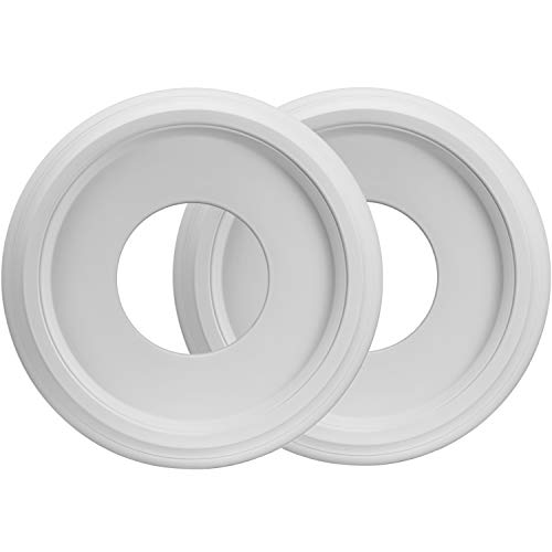 Canomo 2 Packs Molded PU Ceiling Medallion for Light Fixtures and Ceiling Fans, 10'OD x 4'ID, White